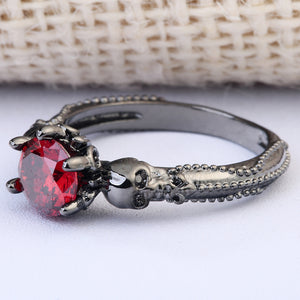 Vintage Red Stone Skull Rings Fashion Black Gold Filled Jewelry Women Men's Punk CZ Skeleton Ring For Party