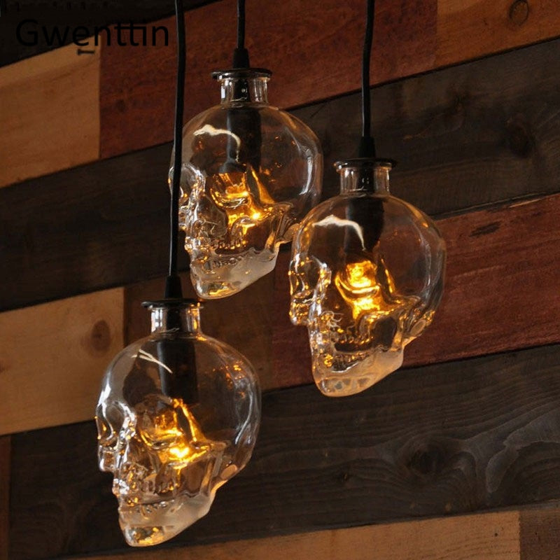 Vintage Skull Pendant Lights Glass Bottle Led Hanging Lamp for Living Room Loft Industrial Home Decor Lighting Fixture