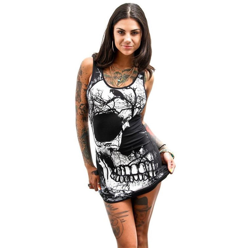 Vintage Skull Printed Dresses Women Sexy Bodycon Party Balck Dress