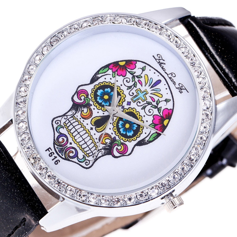 Watch Women Watches Unisex Dial Diamond Leather Analog Wrist Skull