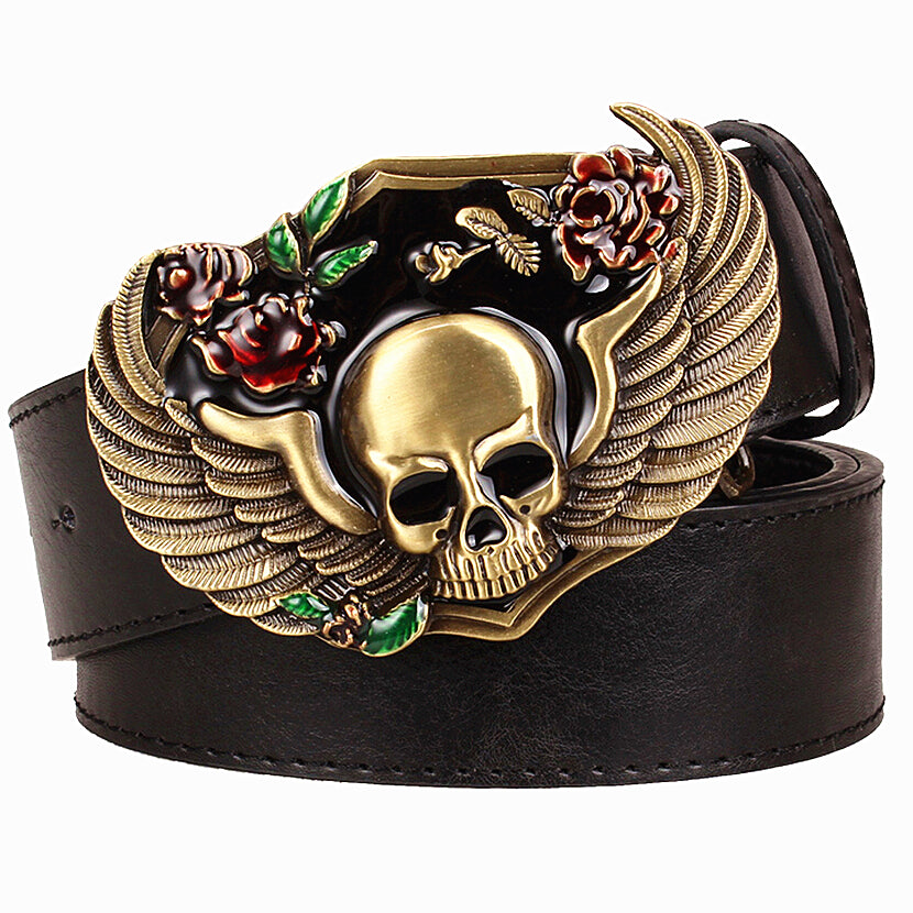 Wild Personality Men's belt metal buckle colour Skull Totem belts wing skeleton head pattern punk rock style trend belt for men