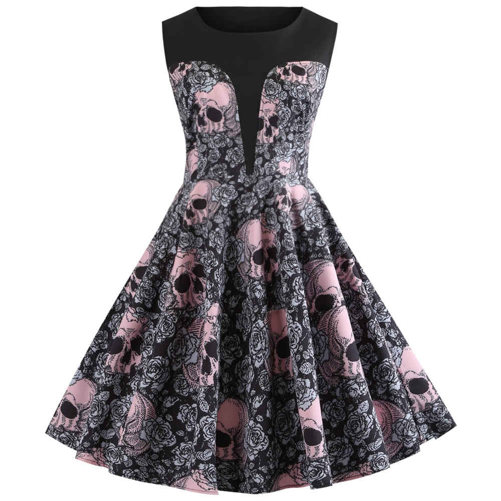 Pink Skull Print Halloween Dress Women Autumn Vintage Dress
