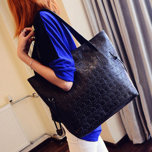 Women Fashion Handbag Retro Skeleton Embossing Shoulder Bag Large Tote Purse female skull pattern large shoulder bag tote bag