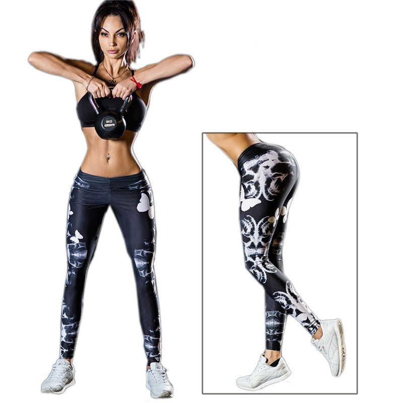 Women Sport Leggings Cycling Pants Cool Skull Printing Printed Sportswear Workout Gym Pant Gradient Color Elastic Yoga Tights