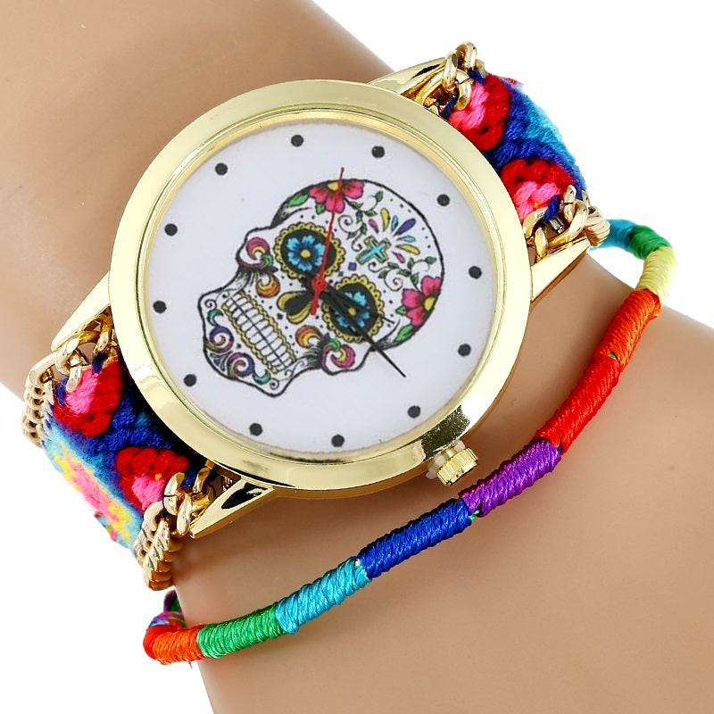 Women Watch Sugar Skull woman dress wristwatch Fashion Hippie Fabric Bracelet Skeleton reloj dama Geneva Style