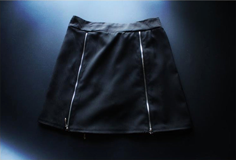 Women's Harajuku Grid Zipper Gothic Black Skirts.Ladies Rock Punk Metal Buckle Strap Skirt.Girl Lolita Suspender Skirt Overalls