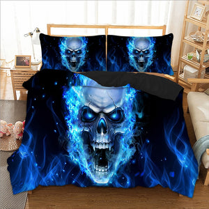 Bedding 3d blue skull duvet cover Bedding set quilt Cover Bed Set 3pcs twin queen king size home textile