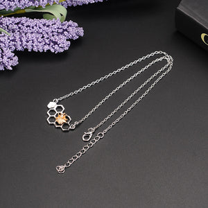 Charm Fashion Silver Necklaces for Women Girl Heart Honeycomb Bee Animal Pendant Choker Necklace Jewelry Party Prom Gift