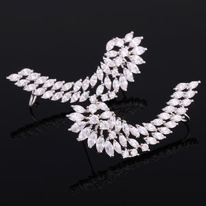 925 Luxury Lady's Silver Post Cubic Zircon Crystal Angel Wing Ear Sweep Wrap Cuff Earrings Climber Earrings