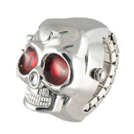 New Practical Red Eyes Skull Design Stretchy Band Quartz Ring Watch for Lady Men