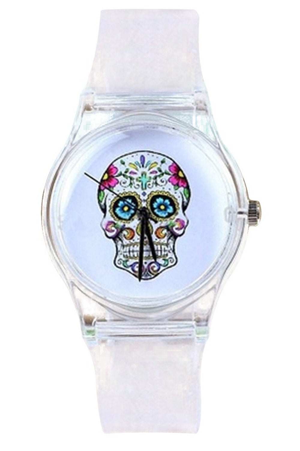 Skull Dial Transparent Silicone Wrist Watch