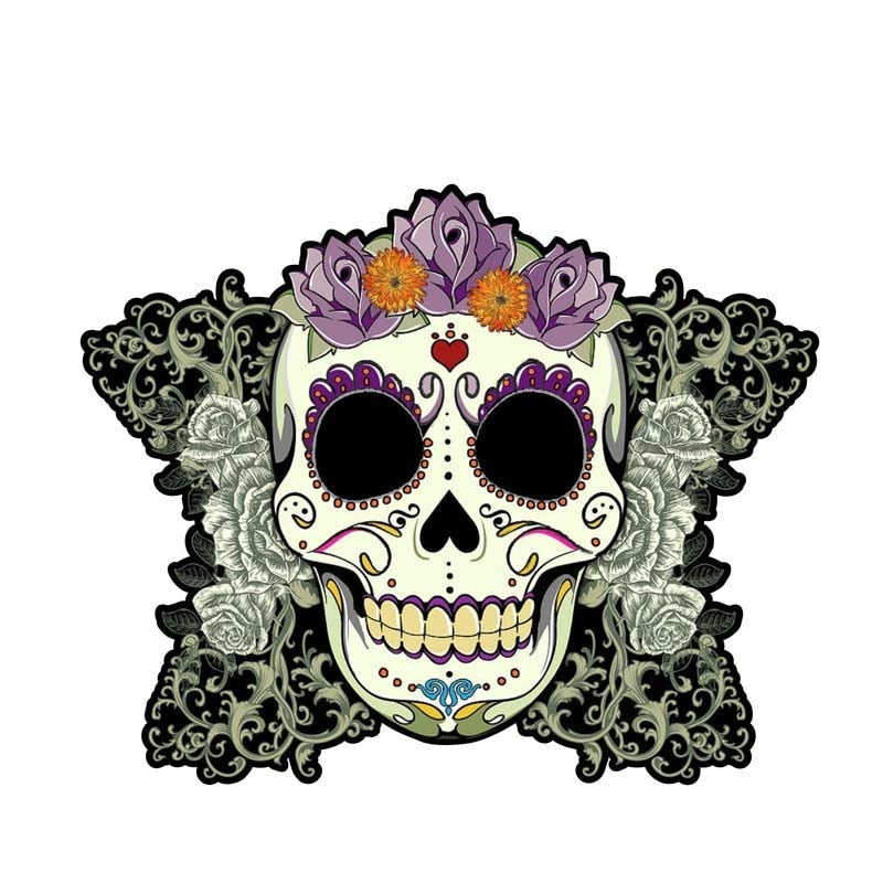 15CM*12.3CM Car Accessories Day Of The Dead Sugar Skull Decal