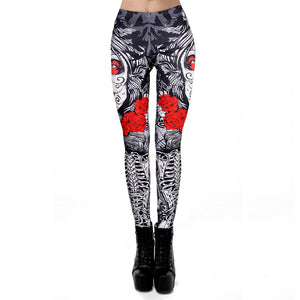 Leggins Halloween Sugar Skull Leggings For Women Girl Rose Print