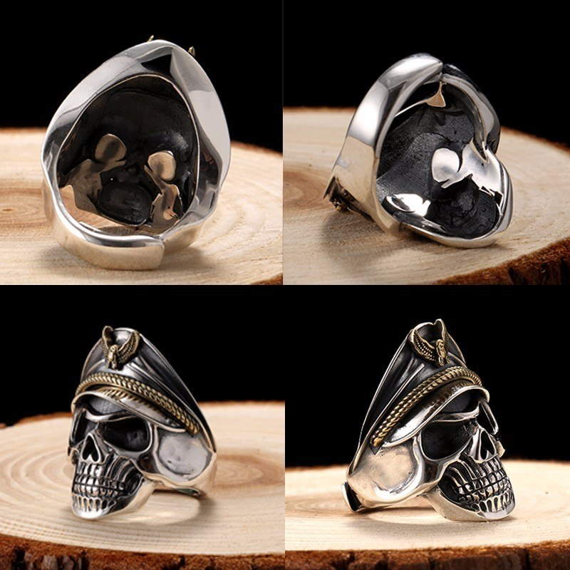 925 Silver World War II Soldier Anniversary Mens Rings Punk Rock Vintage Adjustable Size Skull Ring Biker Men Jewelry