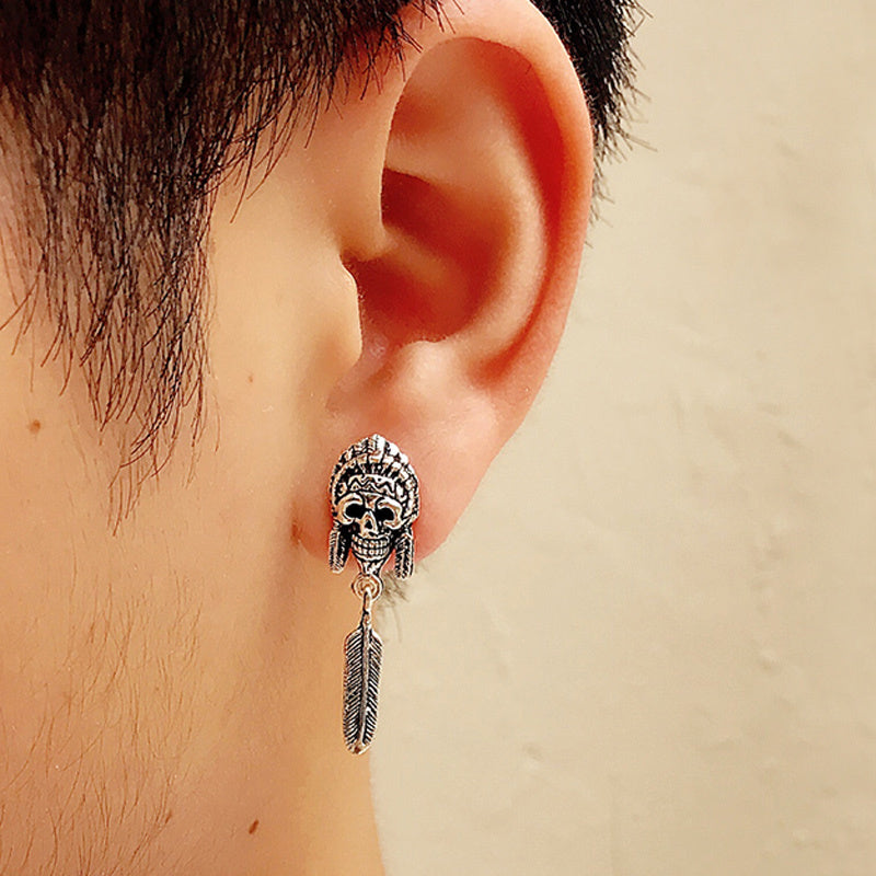 925 Sterling Silver Earrings For Men Indian Vintage Punk Skull Long Stud Silver Mens Earrings Fashion Jewelry