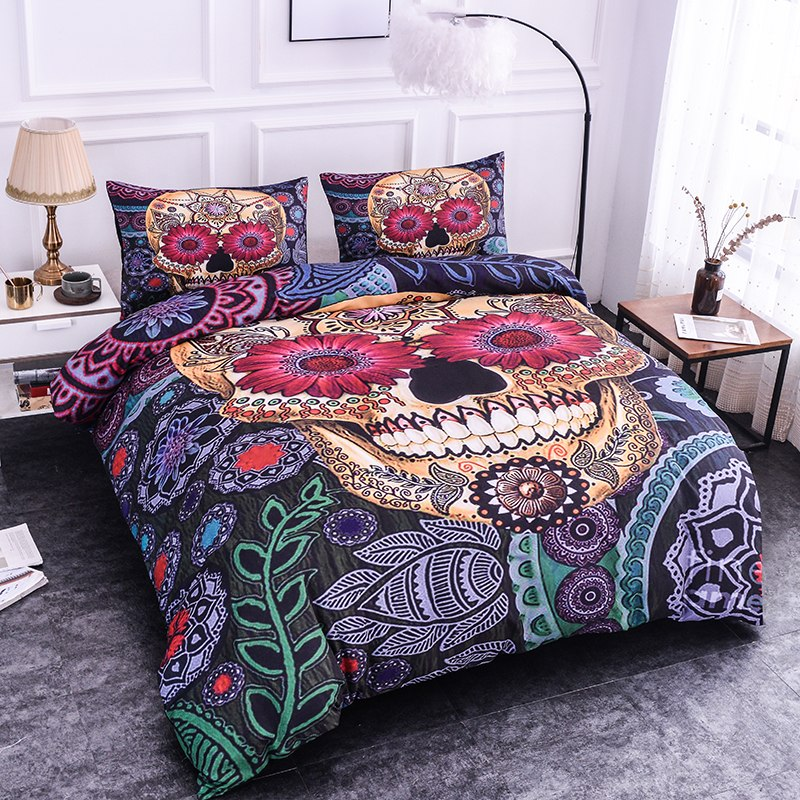 Sugar Skull Printing Bedding Sets 2/3pcs Flowers Pattern