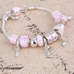Pink Crystal Charm Silver Bracelets & Bangles for Women With Aliexpress Murano Beads Silver Bracelet Femme Love  Jewelry