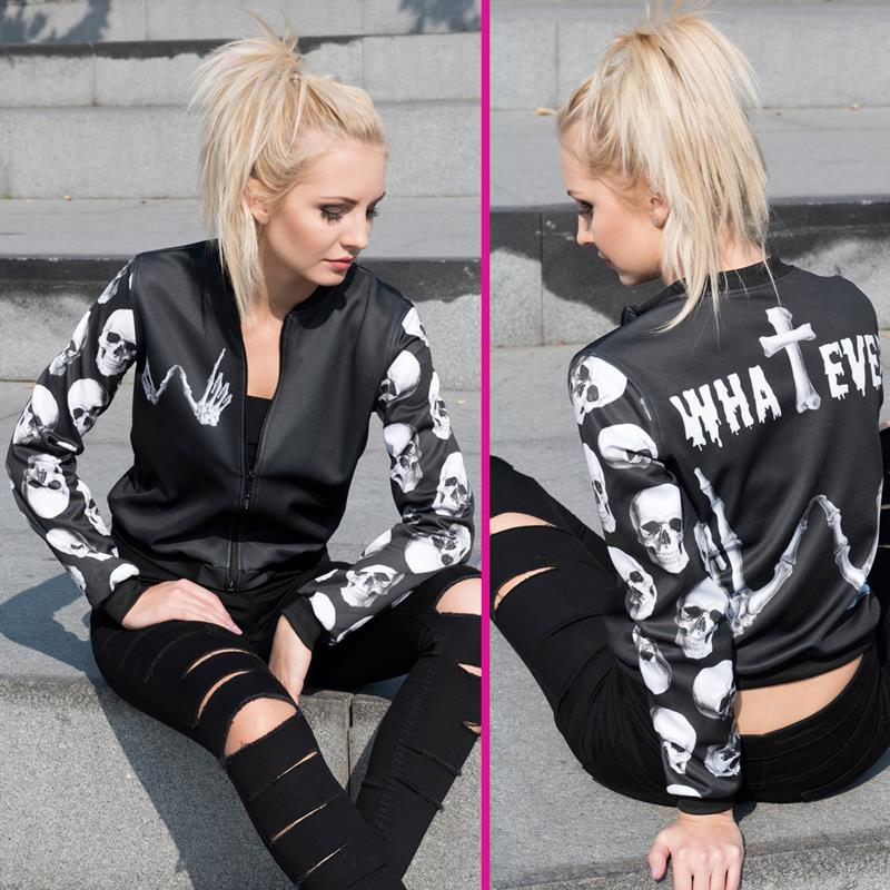 New arrival Fashion Womens Bomber Jacket Whatever Skull