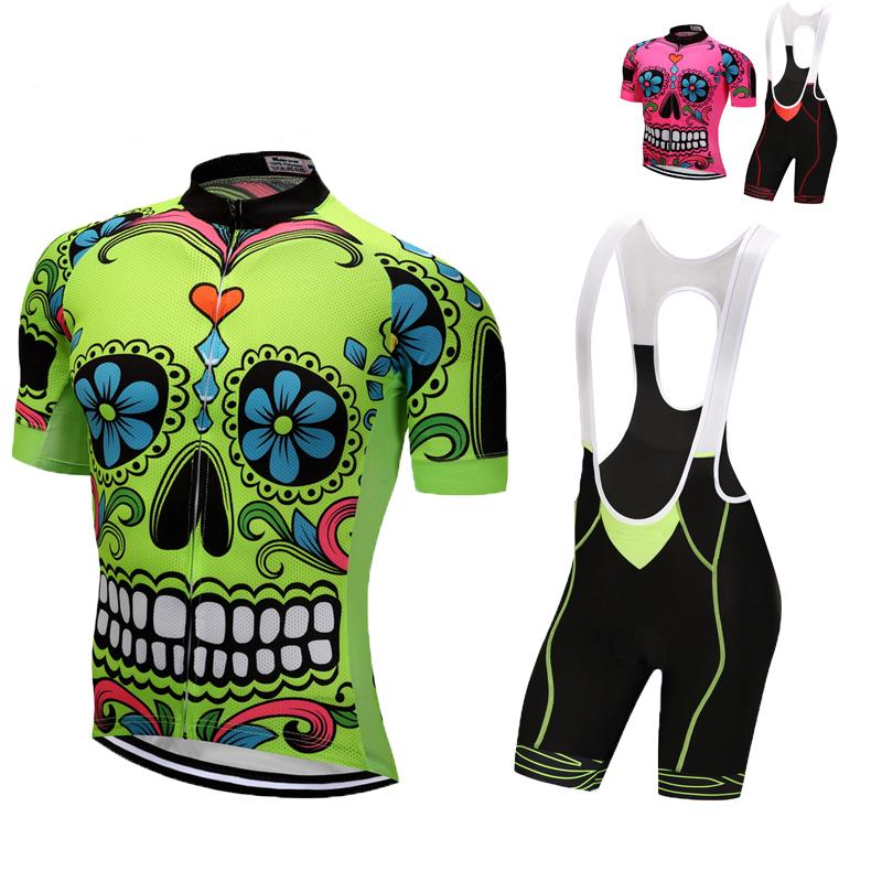 Weimostar Skull ropa ciclismo men Cycling clothing Green Pink Bike Cycling Set uniforme ciclismo Bicycle cycling jersey set