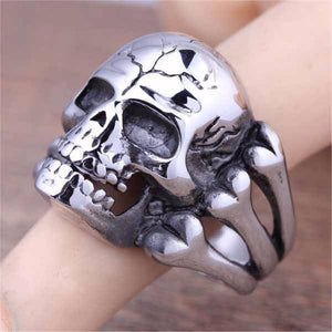 aimeilai Skull Ring Man's Ring Gothic Men's Skull Flower Biker Zinc alloy Ring Man fashion rings