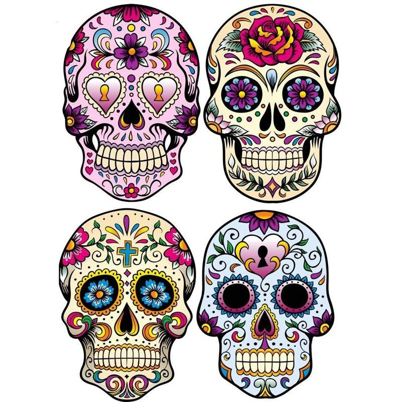 6.8CM*9.7CM 4X MEXICAN SUGAR SKULL Classic Combination Decals
