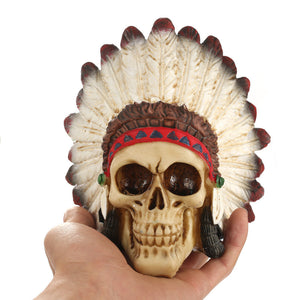 Resin Skull Statues Figurines India Style Skull Skeletons Head Ornament Creative Halloween Bar Home Decoration Accessories