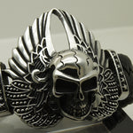 Cool wing feather star skull woven leather 316 stainless steel bangle bracelet