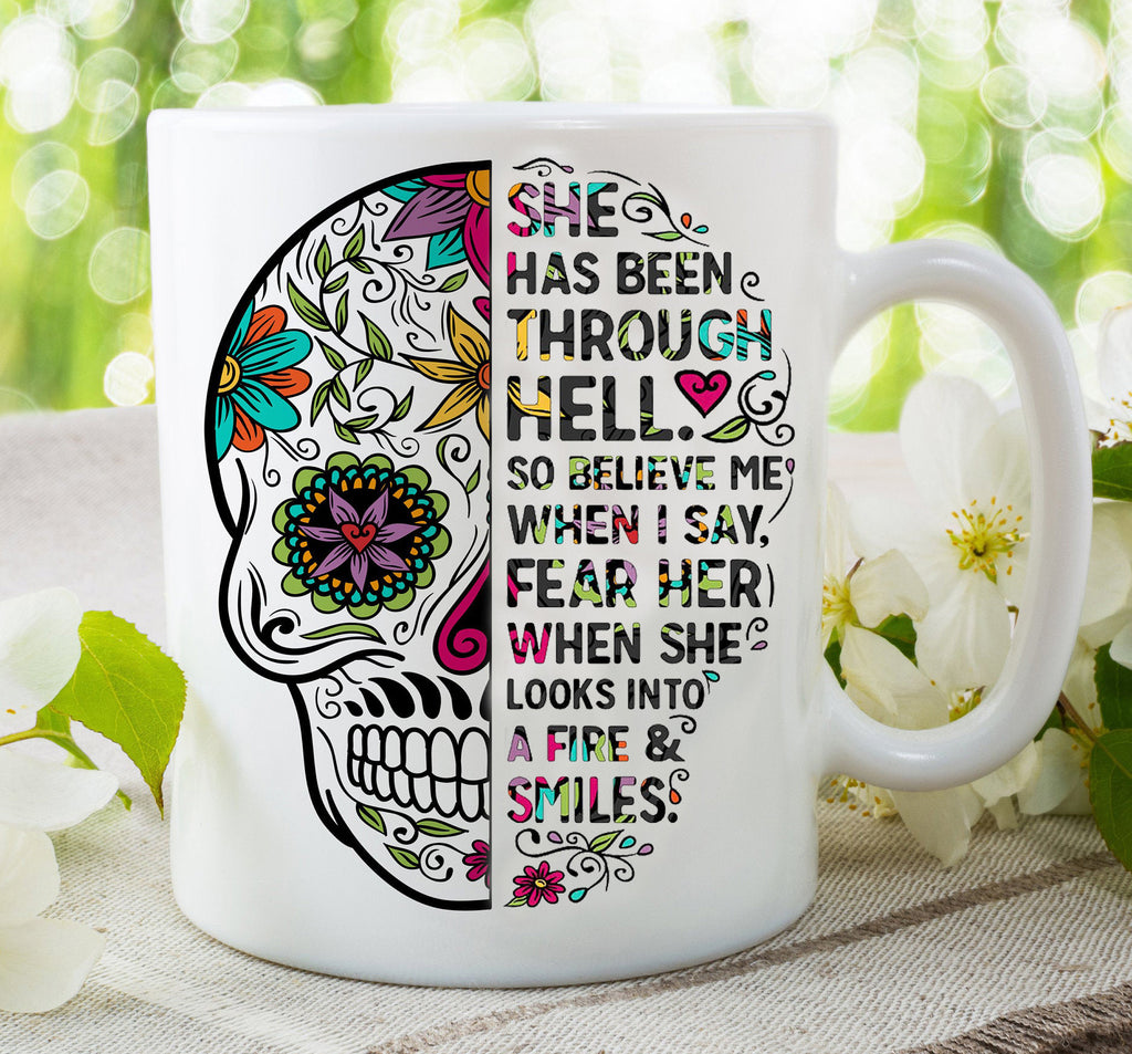 Sugar skull cup - She has been through hell...