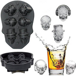 3D Skull Ice Mold,Six Giant Skull Silicone Mold,Funny Ice Maker Cool Drink Whiskey Wine Cocktail