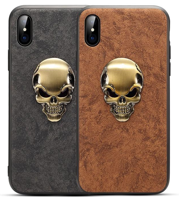 Skull phone cases for iphone x case leather luxury back cover for iphone