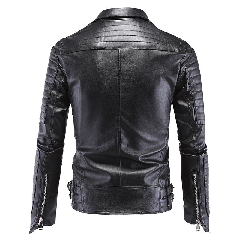 Male Plus Size Leather Jacket Skull Rivet Studded Punk Rock Men
