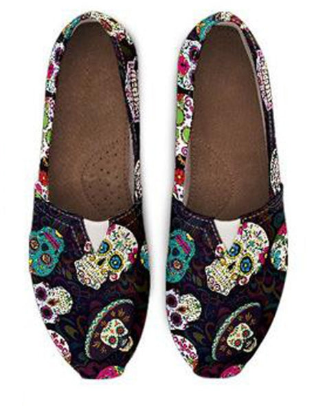 Sugar Skulls High Quality Women Flats Shoes Fashion Ladies Loafers Casual Comfortable Light for Female Lazy