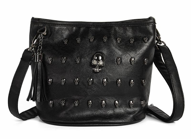 Black Skull Bags Women Punk Shoulder Bag Ladies Rivet Studs Handbag