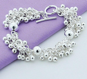 925 Sterling Silver Charm Bracelets Jewelry Grapes More Beads Jewelry Bracelet Plated Silver Bracelet Women