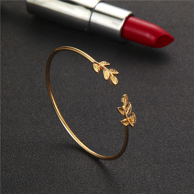 4pcs/1set Punk Bracelet Simple Geometric Leaf Knot Metal Chain Bracelet Bohemian Retro Bracelet Jewelry Accessories 6115