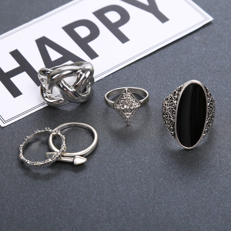 5pcs/Set Fashion High Quality Bohemia Style Rings Set Classic Shape Pattern Crystal Pendant for Women Charm Jewelry
