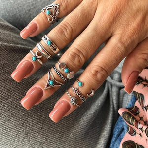 Antique Silver Carved Geometric Rings Set for Women Letter Hand Flower Knuckle Midi Rings Set Bohemian Jewelry