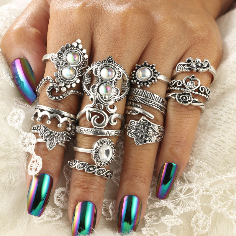 Antique Silver Color Flower Leaf Heart Crown Hand Shape Rings Set for Women Opal Crystal Knuckle Midi Rings 16pcs