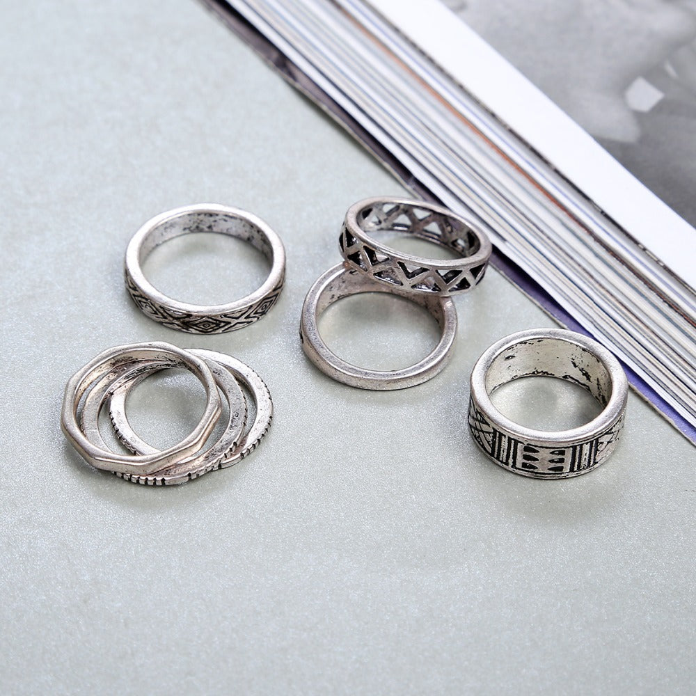 Bohemia Style 8pcs/set Antique Silver Rings Classic Pattern Flower Carving RING WOMEN Tribal Knuckle Ring Jewelry