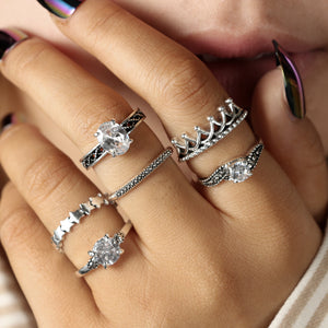 Bohemian Crown Star Carved Knuckle Rings Set for Women White Crystal Midi Finger Ring Statement Jewelry 6pcs/1set 4188