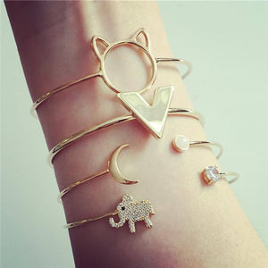 Bohemian Gold Color Cat Elephant Moon Bracelet Set for Women Alloy Open Adjustable Bracelet Bangle Statement Jewelry 5253