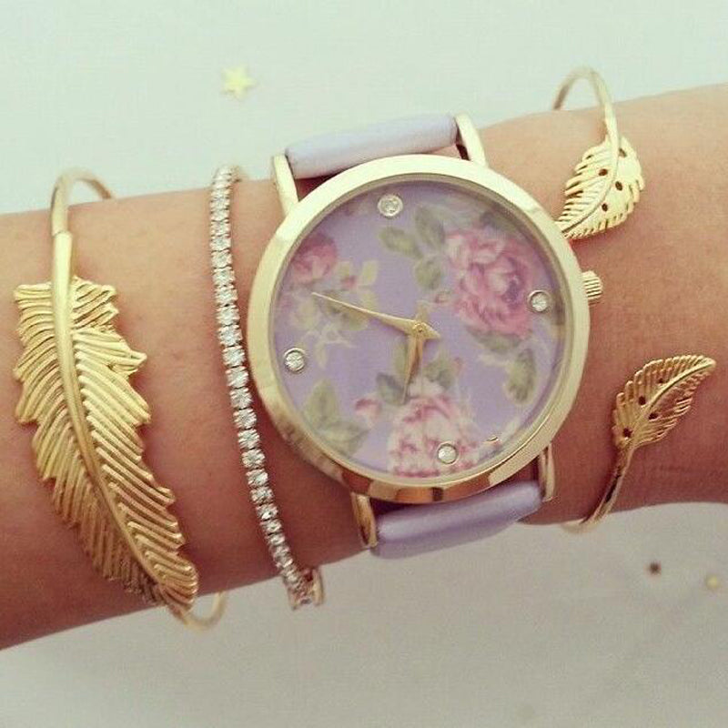 Bohemian Gold Color Crystal Leaf Bracelet Set for Women Girl Opening Adjustable Bracelet Bangle Set 3pcs /1set 3858