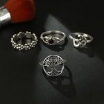 Bohemian Silver Lutous Flower Tree Rings Set for Women Alloy Geometric Knuckle Midi Ring Boho Jewelry Anillos 6391