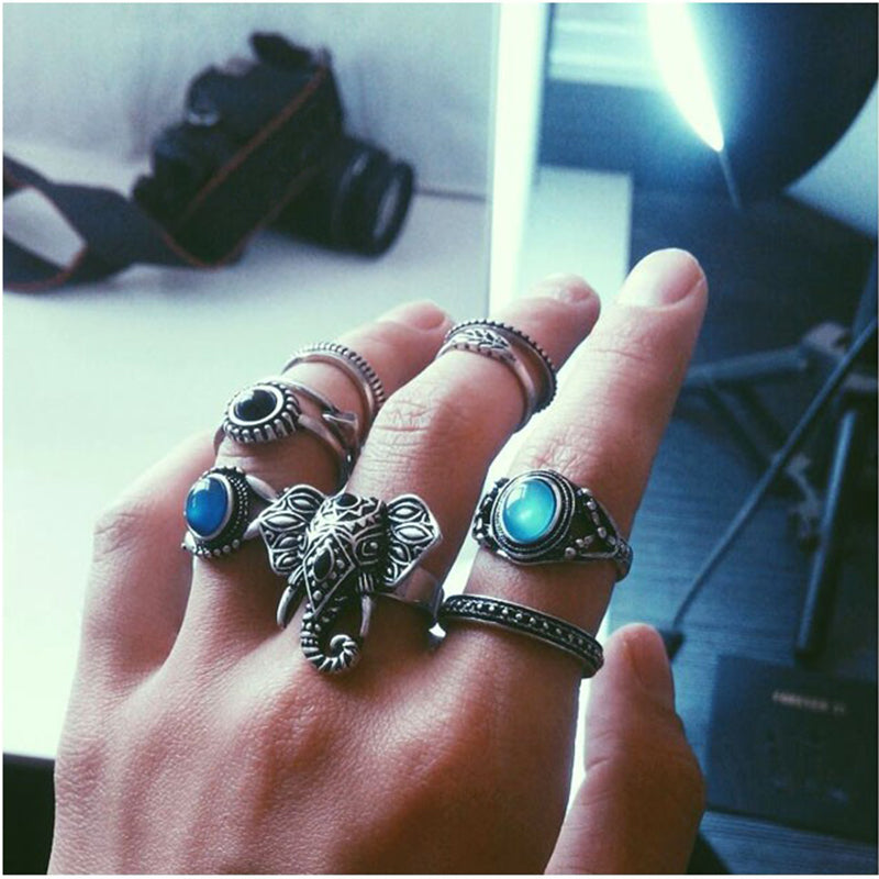 New Hot Bohemian Elephants Ring 10pcs Stone Retro Boho Rings Leaf Eyes same kinds Statement Rings Sets for Women