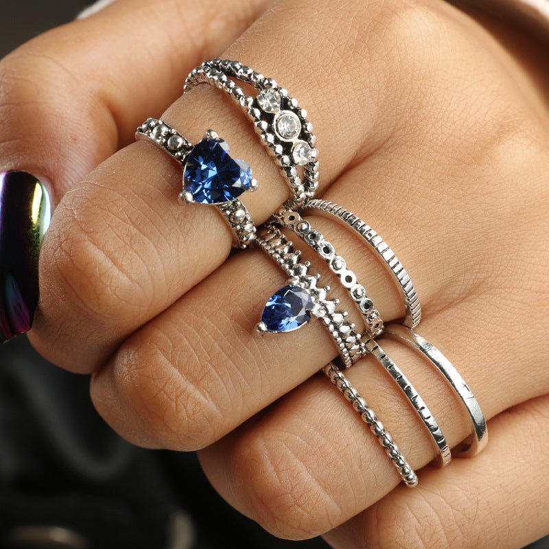 Tribal Silver Blue Heart Rings Set for Women Metal Crystal Knuckle Midi Rings Statement Jewelry Bague Femme