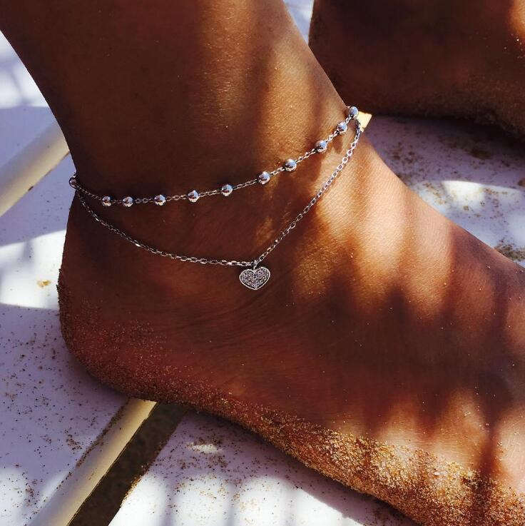 Vintage Antique Silver Color Anklet Women Bohemian Heart Star Round Anklet Bracelet Boho Foot Jewelry Ankle Leg Chain