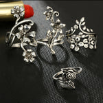 Vintage Rose Flower Rings Set for Women Girl Bohemia Antique Silver Color Midi Rings Set Floral Knuckle Ring  6047