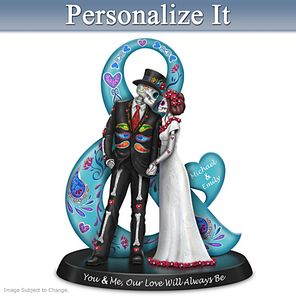 Blake Jensen Romantic Sugar Skull Figurine With 2 Names