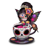 Sugar Skull-Inspired Fairy Figurine Tea cup