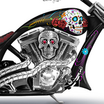 """Spirit Riders"" Sugar Skull Bike Sculpture"
